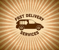 Delivery vintage label with car Stock Photography