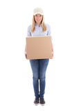 Delivery woman with carboard box isolated on white Stock Image