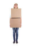 Delivery woman with carboard boxes isolated on white Stock Images