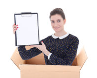 Delivery - woman in cardboard box holding blank clipboard isolat Royalty Free Stock Photos