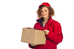 Delivery woman carrying box Stock Photos
