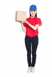 Delivery woman carrying cardboard box Royalty Free Stock Photo