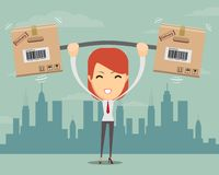 Delivery woman. Cartoon character with cartons box . Stock Photo