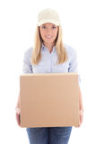 Delivery woman holding carboard box isolated on white Royalty Free Stock Photography
