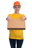 Delivery woman holding package isolated Royalty Free Stock Photography