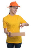 Delivery woman holding package isolated Royalty Free Stock Photos
