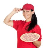 Delivery woman of pizza Royalty Free Stock Image