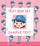 Delivery woman text box Royalty Free Stock Photo