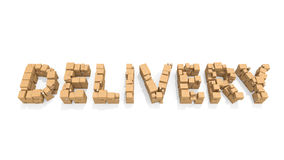 Delivery. Word made of cardboard boxes vector illustration