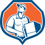 Delivery Worker Deliver Package Carton Box Retro Royalty Free Stock Images
