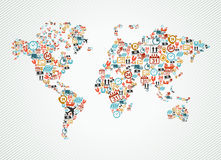 Delivery world map colorful shipping web icons ill Royalty Free Stock Photos