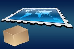 Delivery world wide. Concept - blank box and a big stamp with world map stock illustration