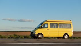 Delivery yellow minitruck Royalty Free Stock Images