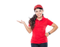 Delivery young asian woman presenting royalty free stock images