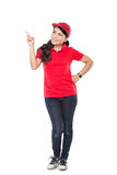 Delivery young asian woman presenting Stock Images
