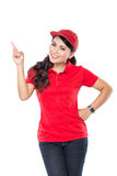 Delivery young asian woman presenting Stock Photos