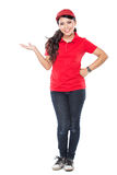 Delivery young asian woman presenting Royalty Free Stock Photo