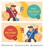 Deliveryman and ad text. Stock Photo