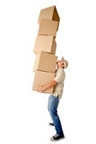 Deliveryman carrying boxes Royalty Free Stock Image