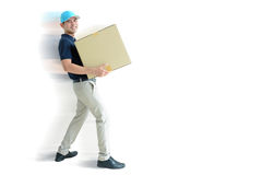 Deliveryman carrying a cardboard box Royalty Free Stock Images