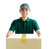 Deliveryman giving a cardboard parcel box Stock Photos