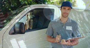 Deliveryman pisze na schowku 4k zbiory
