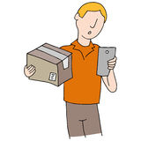Deliveryman Using Phone App Stock Photography