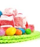 Delizie dolci turche con i caramelli colorati fotografia stock