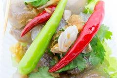 Delizioso piccante del peperoncino rosso rosso della carne di maiale della tapioca molto Immagini Stock Libere da Diritti