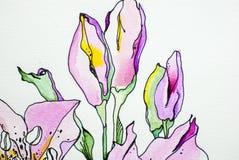 Dell'acquerello del fiore tiraggio isolato bianco della pittura di acrilici del fondo della foglia di verde di struttura di color royalty illustrazione gratis