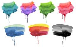 Dell'acquerello di flusso fondo dipinto a mano astratto giù strutturato Fotografia Stock Libera da Diritti