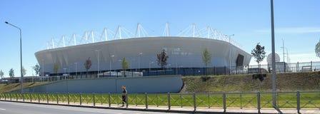 ` Dell'arena di Rostov del ` dello stadio a Rostov-On-Don La vista dal fiume indossa Panorama Immagini Stock Libere da Diritti