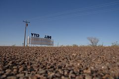 Dell City unterzeichnen herein Texas Stockbild