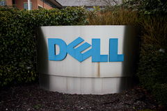 Dell Company Logo. Bracknell, England - January 18, 2015: The Dell Corporation sign at the entrance of their registered address in Bracknell, England. Dell Royalty Free Stock Photography