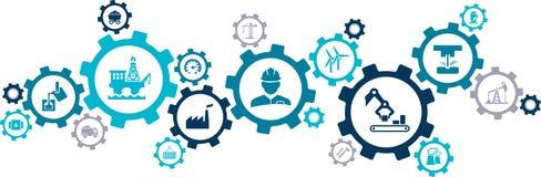 Dell'edilizia del †di concetto dell'icona dell'industria pesante «illustrazione di vettore del †di industria di ingegneria, d illustrazione di stock