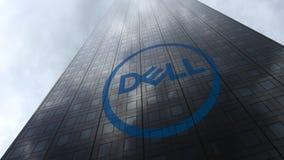 Dell Inc embleem op een wolkenkrabbervoorgevel die op wolken wijzen Het redactie 3D teruggeven Stock Foto