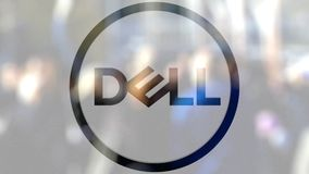 Dell Inc. logo on a glass against blurred crowd on the steet. Editorial 3D rendering. Dell Inc. logo on a glass against blurred crowd on the steet. Editorial 3D stock footage