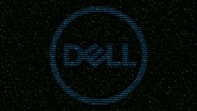 Dell Inc. logo made of flashing hexadecimal symbols on computer screen. Editorial 3D rendering. Dell Inc. logo made of flashing hexadecimal symbols on computer stock video