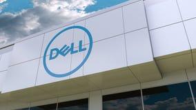 Dell Inc. logo on the modern building facade. Editorial 3D rendering. Dell Inc. logo on the modern building facade. Editorial 3D stock footage