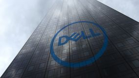 Dell Inc. logo on a skyscraper facade reflecting clouds. Editorial 3D rendering. Dell Inc. logo on a skyscraper facade reflecting clouds. Editorial 3D Stock Photo