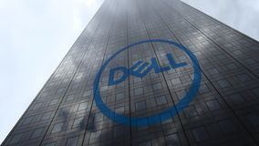 Dell Inc. logo on a skyscraper facade reflecting clouds, time lapse. Editorial 3D rendering. Dell Inc. logo on a skyscraper facade reflecting clouds, time lapse stock video footage