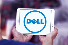 Dell logo. Logo of dell company on samsung tablet in hands Royalty Free Stock Image