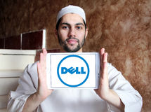 Dell logo. Logo of dell company on samsung tablet holded by arab muslim man Royalty Free Stock Photo