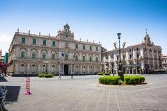 Dell'Universita de Palazzo, centro de ciudad de Catania, Sicilia Foto de archivo libre de regalías