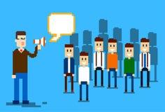 Dell'uomo d'affari del capo di Hold Megaphone Loudspeaker di Team Leader Group Businesspeople dei colleghi gente di affari Immagini Stock