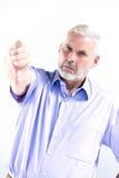Dell'uomo senior del ritratto del pollice guasto giù Immagini Stock