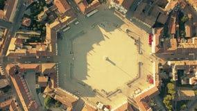 Della cima vista aerea giù del quadrato esagonale nel centro di Palmanova, Italia immagini stock