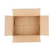 Della cima vista giù della scatola di cartone vuota aperta Immagine Stock
