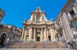 Della Collegiata della basilica a Catania, Sicilia, Italia del sud immagini stock libere da diritti