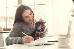 Della giovane donna delle free lance atmosfera di inverno di concetto del Ministero degli Interni all'interno con il terrier di g Fotografia Stock